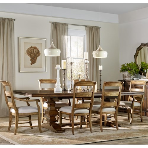 Hamilton Home Sentinel: Pecan 7 Piece Dining Set with Ladderback Chairs