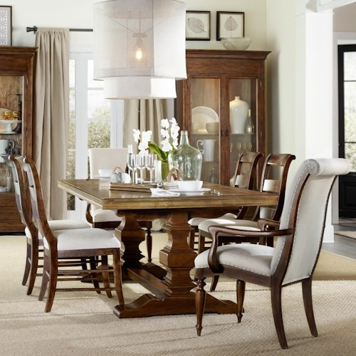 Hamilton Home Sentinel: Pecan 7 Piece Dining Set with Trestle Table