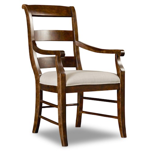 Hamilton Home Sentinel: Pecan Ladderback Arm Chair with Scrolled Back