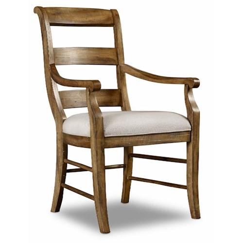 Hamilton Home Sentinel: Toffee Ladderback Arm Chair with Scrolled Back