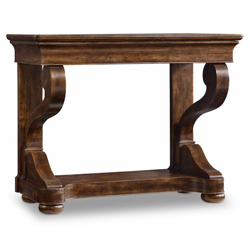 Hamilton Home Sentinel: Pecan Scroll Leg Consulate Table