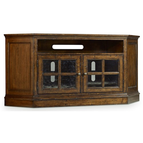 Hamilton Home Brantley Corner Entertainment Console with 2 Glass Doors