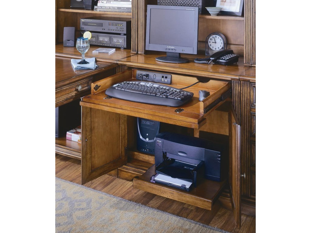 A Drop-Front Drawer, Tower Compartment, and Printer Compartment with Pullout Shelf Helps Keep You Work Space Neatly Contained