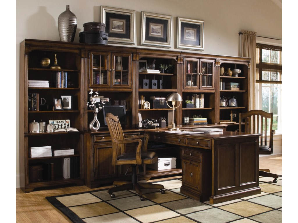 Shown with Peninsula Desk, Mobile File Cabinet, Open Hutch, Door Hutch, Tall Bookcase, and Tilt Swivel Chair
