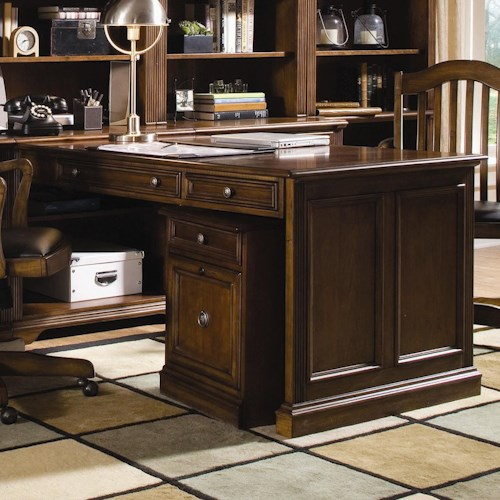 Hooker Furniture Brookhaven Three Drawer Peninsula Desk