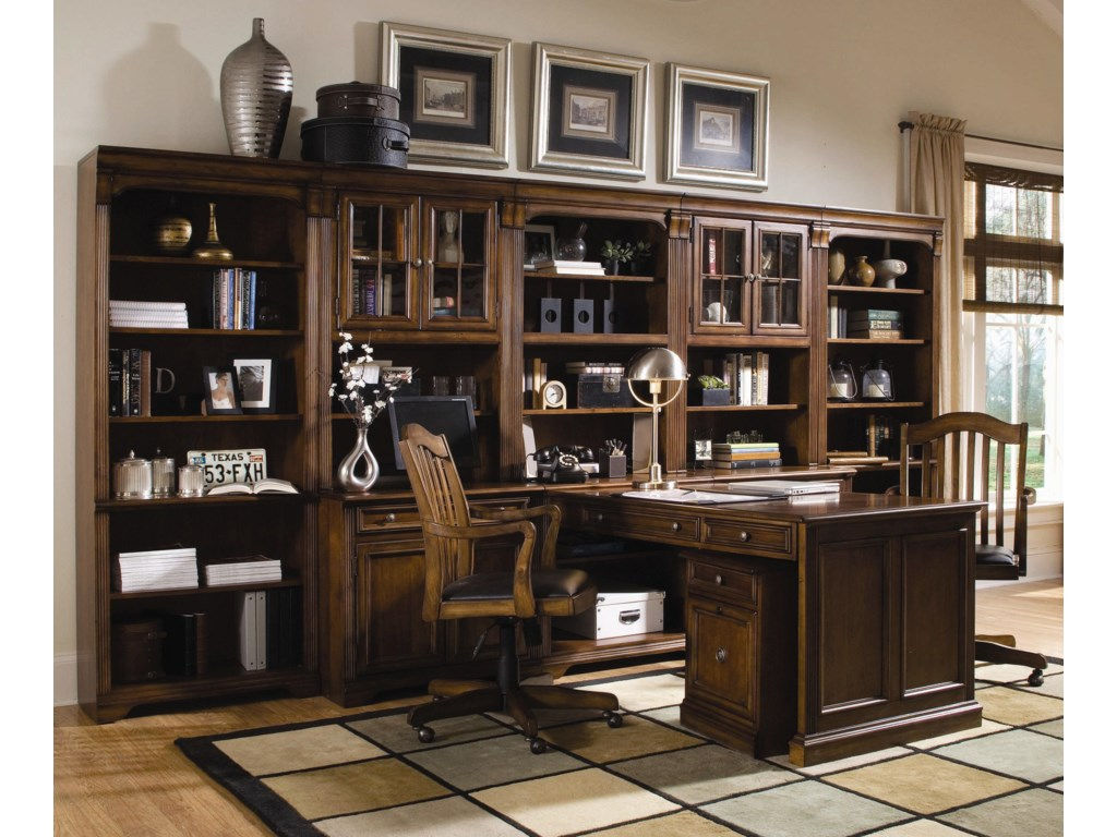 Shown with Computer Desk, Mobile File, Open Hutch, Door Hutch, Tall Bookcase, and Swivel Chairs