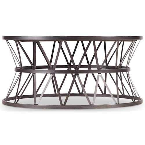 Hooker Furniture Chadwick Round Cocktail Table with Metal X Pedestal Frame