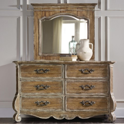 Hooker Furniture Chatelet 6-Drawer Dresser and Mirror Set