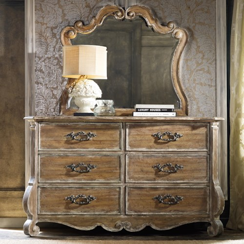 Hooker Furniture Chatelet 6 Drawer Dresser with Scroll Motif Mirror