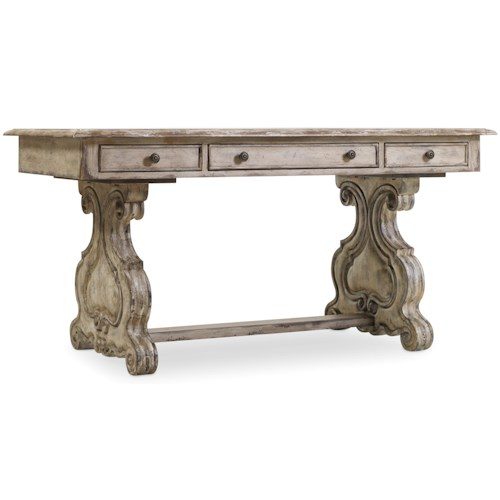 Hooker Furniture Chatelet Trestle Writing Desk with Scroll Pedestals