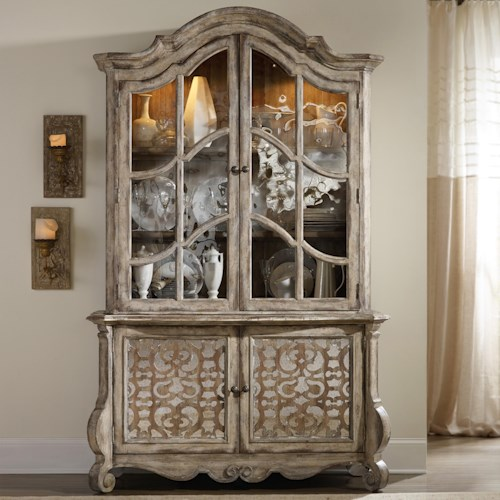 Hamilton Home Chatelet Buffet and Hutch with Fretwork Detail