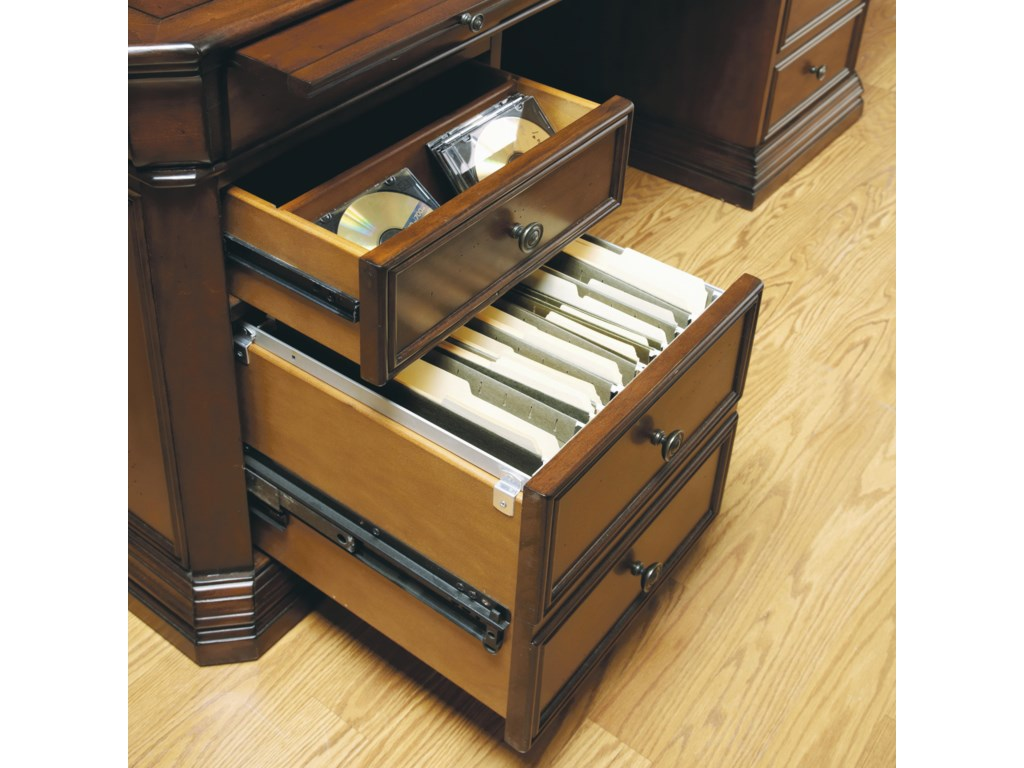 Writing Surface, Divided Drawer, and Filing Drawer