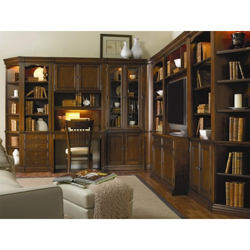 Hamilton Home Cherry Creek  Traditional Modular Wall System with Desk and Entertainment Unit