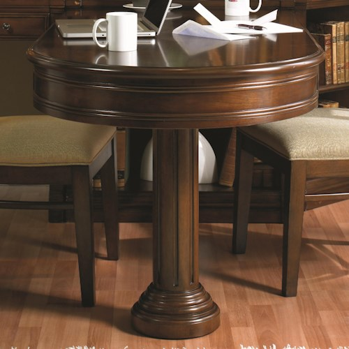 Hooker Furniture Cherry Creek  Partner's Peninsula Desk with Two Drop-Front Drawers & Pedestal Base