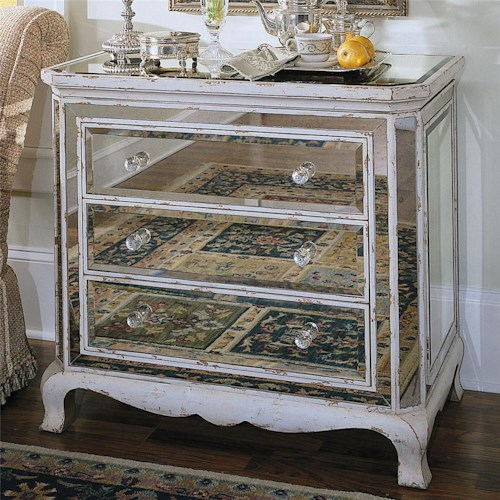 Hooker Furniture Chests and Consoles French Mirrored Chest with 3 Drawers