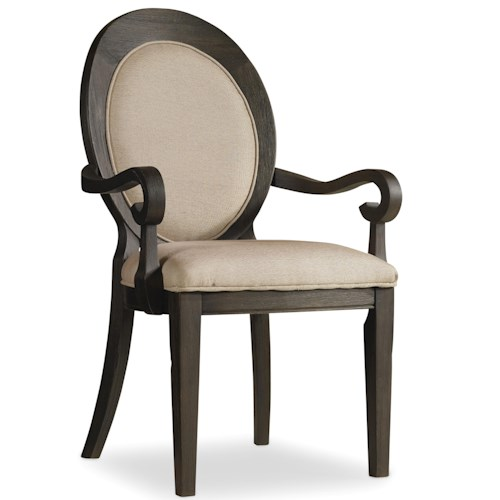 Hooker Furniture Corsica Oval Back Arm Chair with Tapered Legs