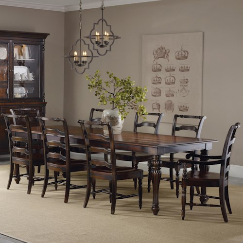 Hooker Furniture Eastridge Dining Set with Rectangle Table and Ladderback Chairs