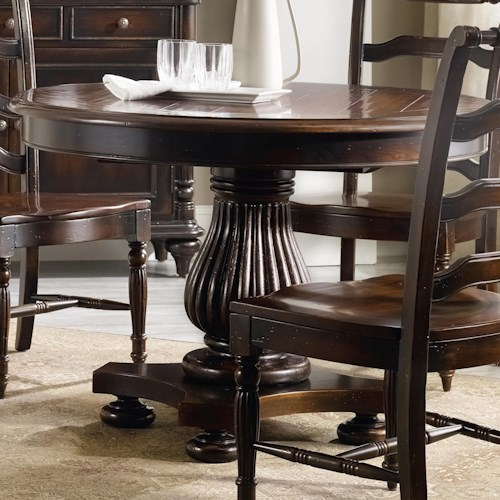 Hooker Furniture Eastridge Round Pedestal Dining Table with Reeded Pedestal
