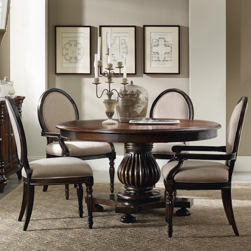 Hooker Furniture Eastridge Round Pedestal Dining Table Set With Oval Back Chairs