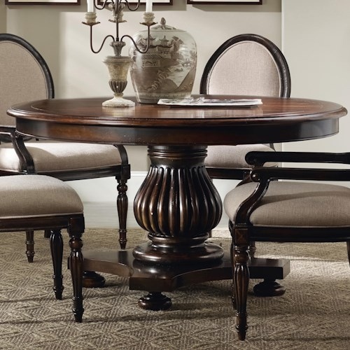 Hooker Furniture Eastridge Round Pedestal Dining Table with 1 20-Inch Leaf