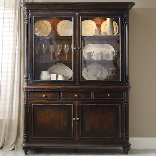 Hooker Furniture Eastridge Buffet and Hutch with 2 Seeded Glass Doors