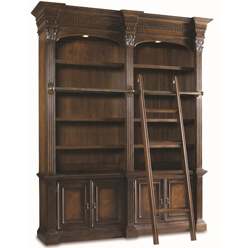 Hamilton Home European Renaissance II Double Open Bookshelf w/ Ladder