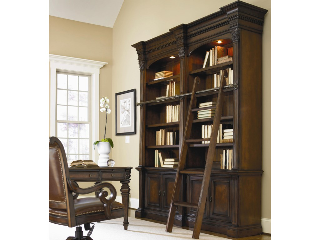 Writing Desk Shown in Room Setting with Open Bookcase, Ladder and Office Desk