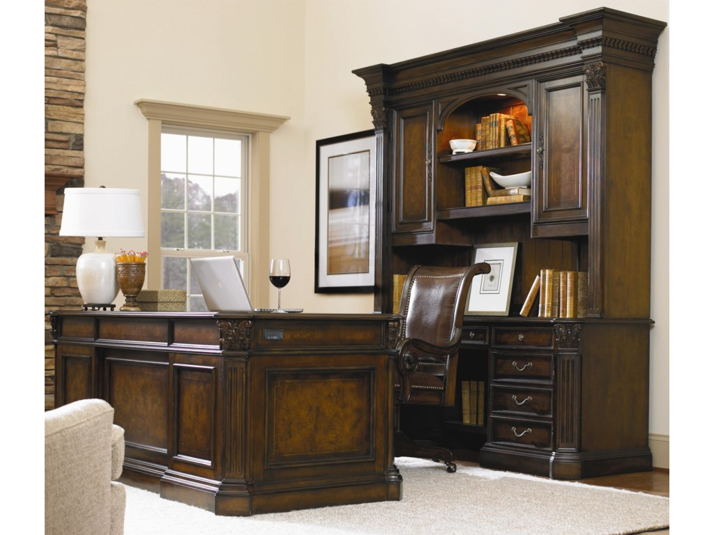 Swivel Chair Shown in Room Setting with Executive Desk, Credenza and Hutch