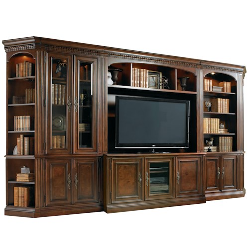 Hooker Furniture European Renaissance II Six-Piece Entertainment Library Wall