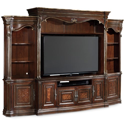 Hooker Furniture Grand Palais 4 Piece Wall Group with Electrical Outlet and Lighting