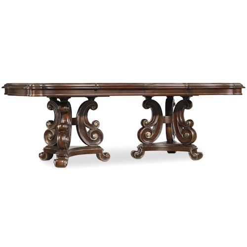 Hamilton Home Grand Palais Rectangular Dining Table with Serpentine Pedestal Design