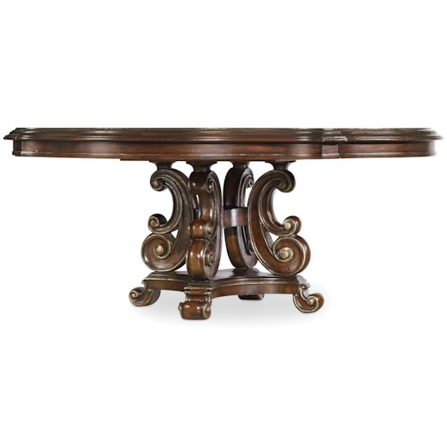 Hooker Furniture Grand Palais Round Dining Table with Serpentine Pedestal Design