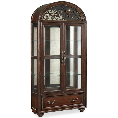 Hamilton Home Grand Palais 2 Door Display Cabinet with Antique Mirrored Back Panel