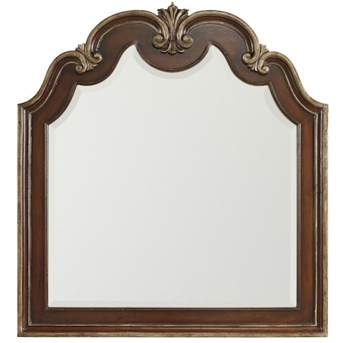 Hooker Furniture Grand Palais Shaped Top Portrait Mirror with Carvings