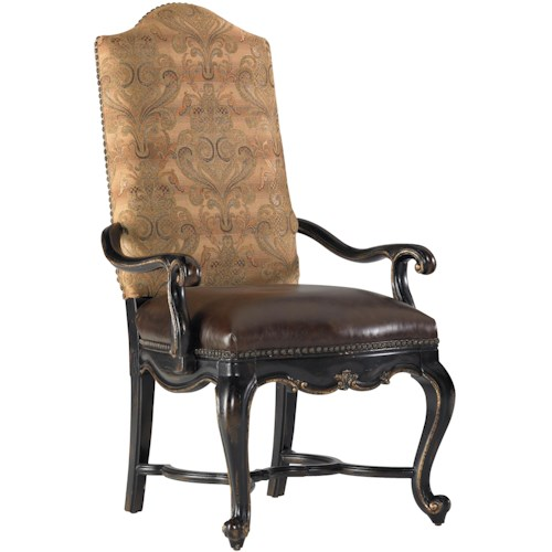 Hooker Furniture Grandover Upholstered Dining Arm Chair with Leather Seat & Fabric Back