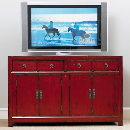 Hooker Furniture Seven Seas Four-Door Two-Drop-Front-Drawer Entertainment Console with Infrared Eye