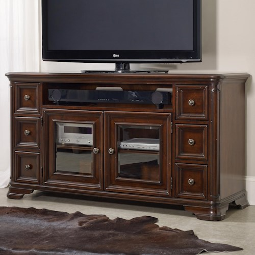 Hamilton Home Haddon Hall 64 Inch Entertainment Console with Glass Doors and Sound Bar Storage