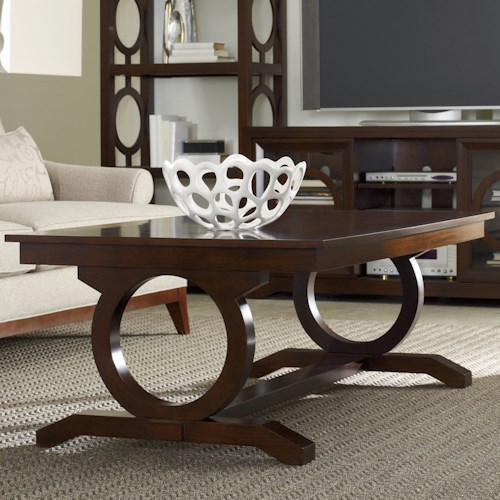 Hooker Furniture Kinsey Contemporary Cocktail Table with Open Circle Trestle Support