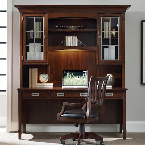 Hooker Furniture Latitude Walnut New-Vintage Desk and Hutch Set