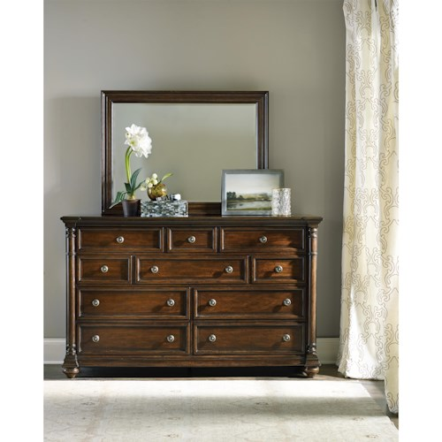 Hooker Furniture Leesburg Dresser with Ten Drawers and Mirror