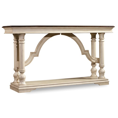 Hooker Furniture Leesburg Console Table with Mahogany Veneers and Antique White Finish