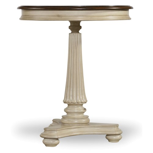 Hooker Furniture Leesburg Round Bedside Table in Antique White Finish