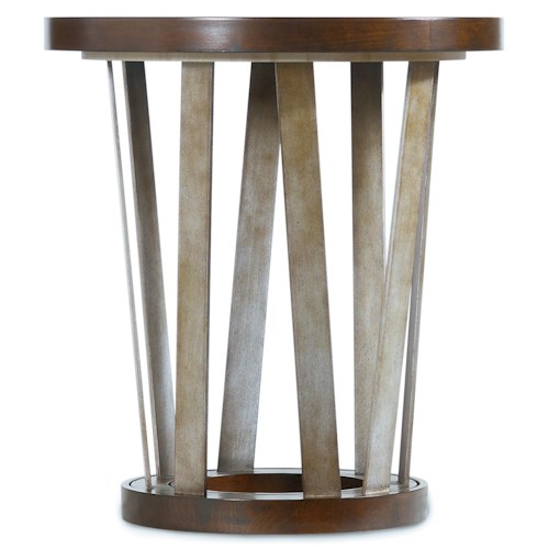 Hooker Furniture Lorimer 24-Inch Round End Table with Asymmetrical Metal Base