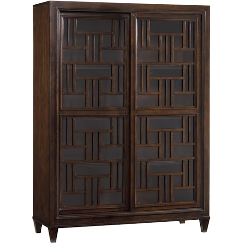 Hooker Furniture Ludlow Bunching Bookcase with Two Sliding Glass Doors & Decorative Fretwork