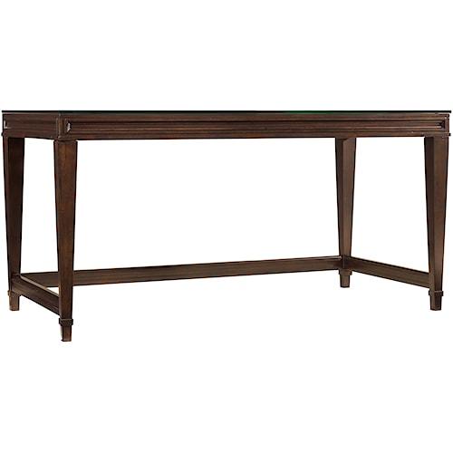 Hooker Furniture Ludlow Modern Table Desk with Glass Top Showing Fretwork Design Below