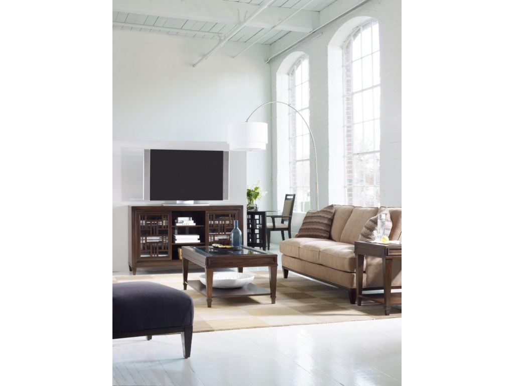 Shown with Rectangular Cocktail Table, End Table, Fabric-Upholstered Sofa, Round Dining Table, and Upholstered-Back Arm Chair