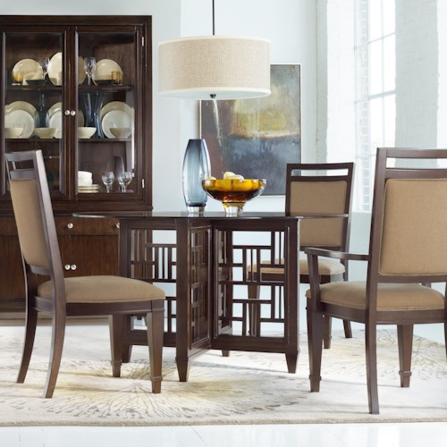 Hooker Furniture Ludlow Five-Piece Round Glass Top Dining Room Table with Fretwork Detailing & Upholstered Side Chairs Set