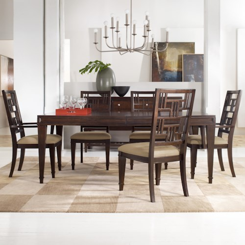 Hooker Furniture Ludlow Five-Piece Dining Table & 4 Fretback Side Chairs
