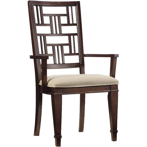 Hooker Furniture Ludlow Dining Arm Chair with Decorative Fretwork Patterned Back & Upholstered Cushion Seat