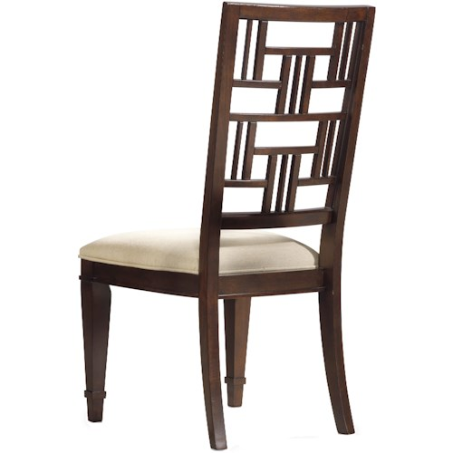 Hooker Furniture Ludlow Dining Side Chair with Decorative Fret Patterned Back & Upholstered Cushion Seat